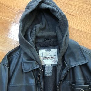 Men's faux leather hooded winter jacket